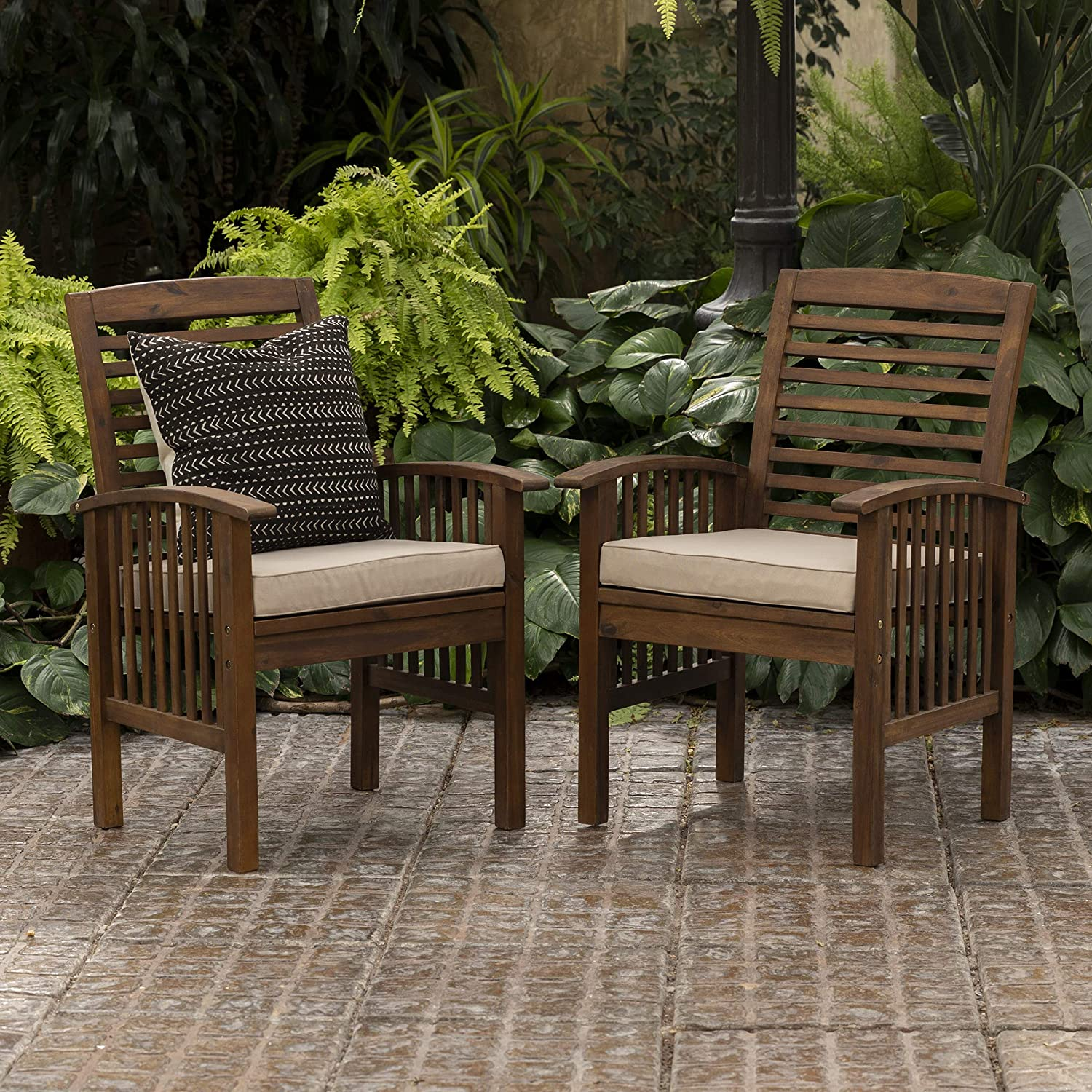 Walker Edison Rendezvous Modern 2 Piece Solid Acacia Wood Slat Back Outdoor Dining Chairs, Set of 2, Dark Brown