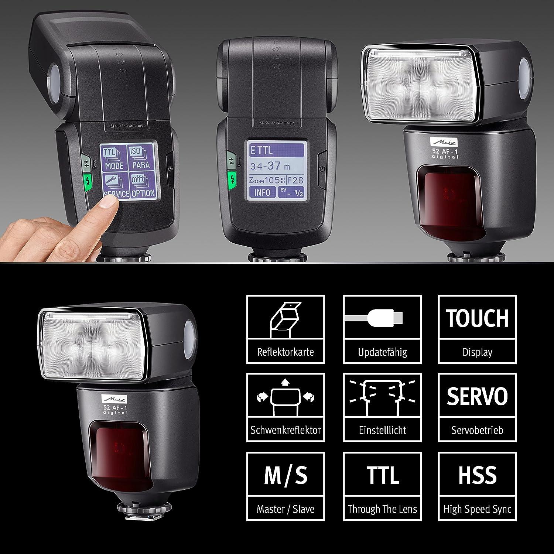 Modo Spot-Zoom, giro de 90/° color negro Flash para Nikon Metz mecablitz 52 AF-1 Digital