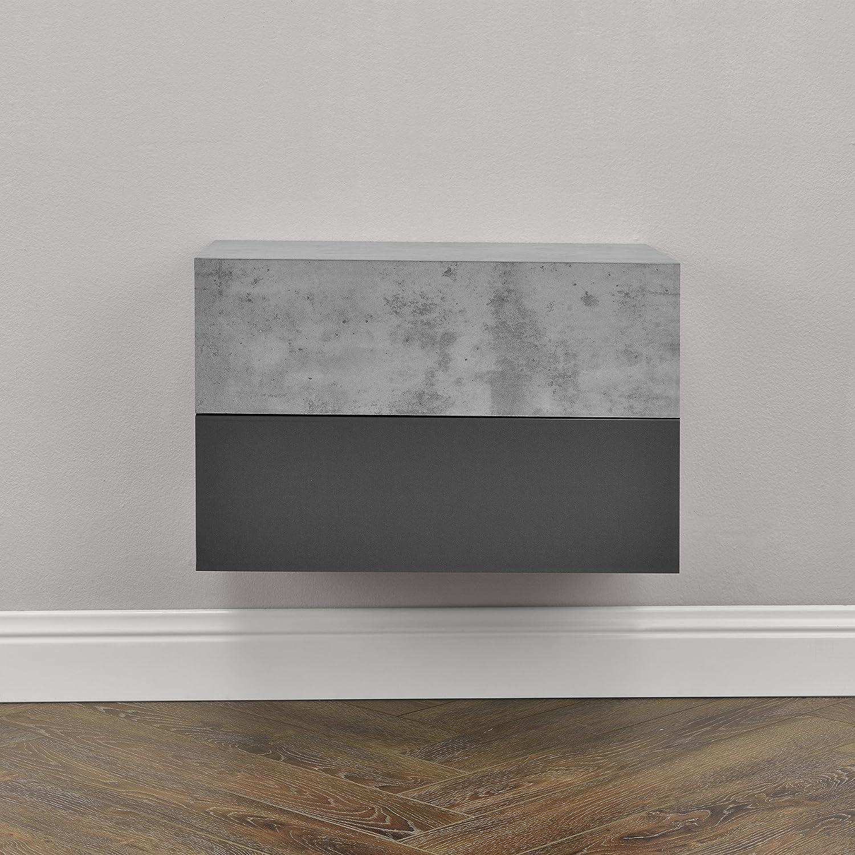 46x30x15cm /® 2 x Mensola da parete con cassetto en.casa Bianco laccato lucido//opaco