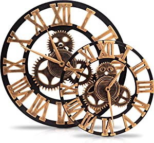 Epicsy Design 12 Inch and 18 Inch Farmhouse Wall Clock, Set of 2-100% Silent Non-Ticking Quartz Movement - Lightweight 3D Rustic Wooden Vintage Style Clocks with Roman Numerals