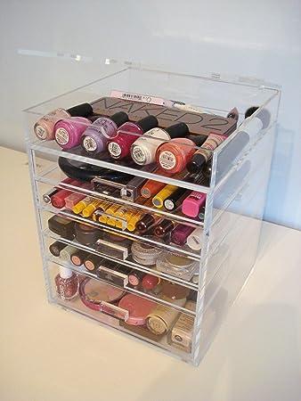 Acrylic Makeup Cosmetics Organizer  Drawer Plus  Lid Beauty Cube Storage Acrylic Knobs