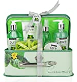 Cooling Cucumber Complete Spa-At-Home Kit! Spa Basket with Full Sized Bottles for Hydrated & Glowing Skin! Bubble Bath Giftset for Mom. Best Spa Gift Basket for Men & Women. Thank You Gift for Teacher
