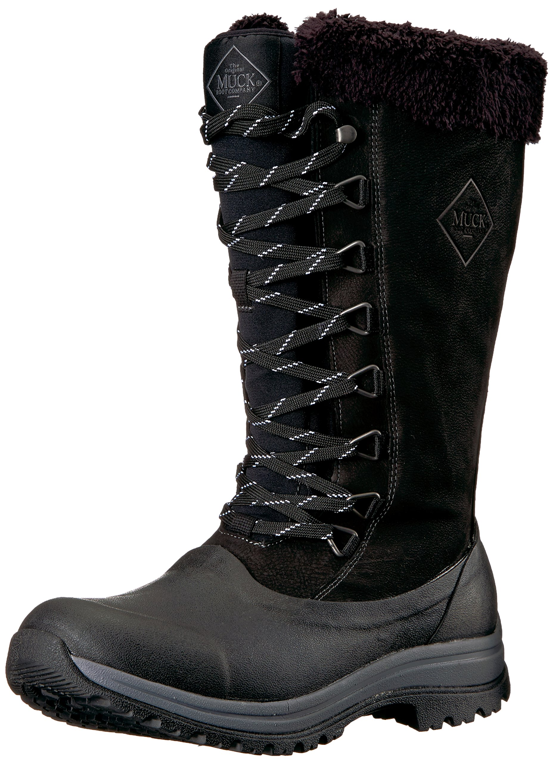 Muck Boot Women's Apres Lace Tall (13'') Work Boot, Black/Charcoal Gray, 8 M US