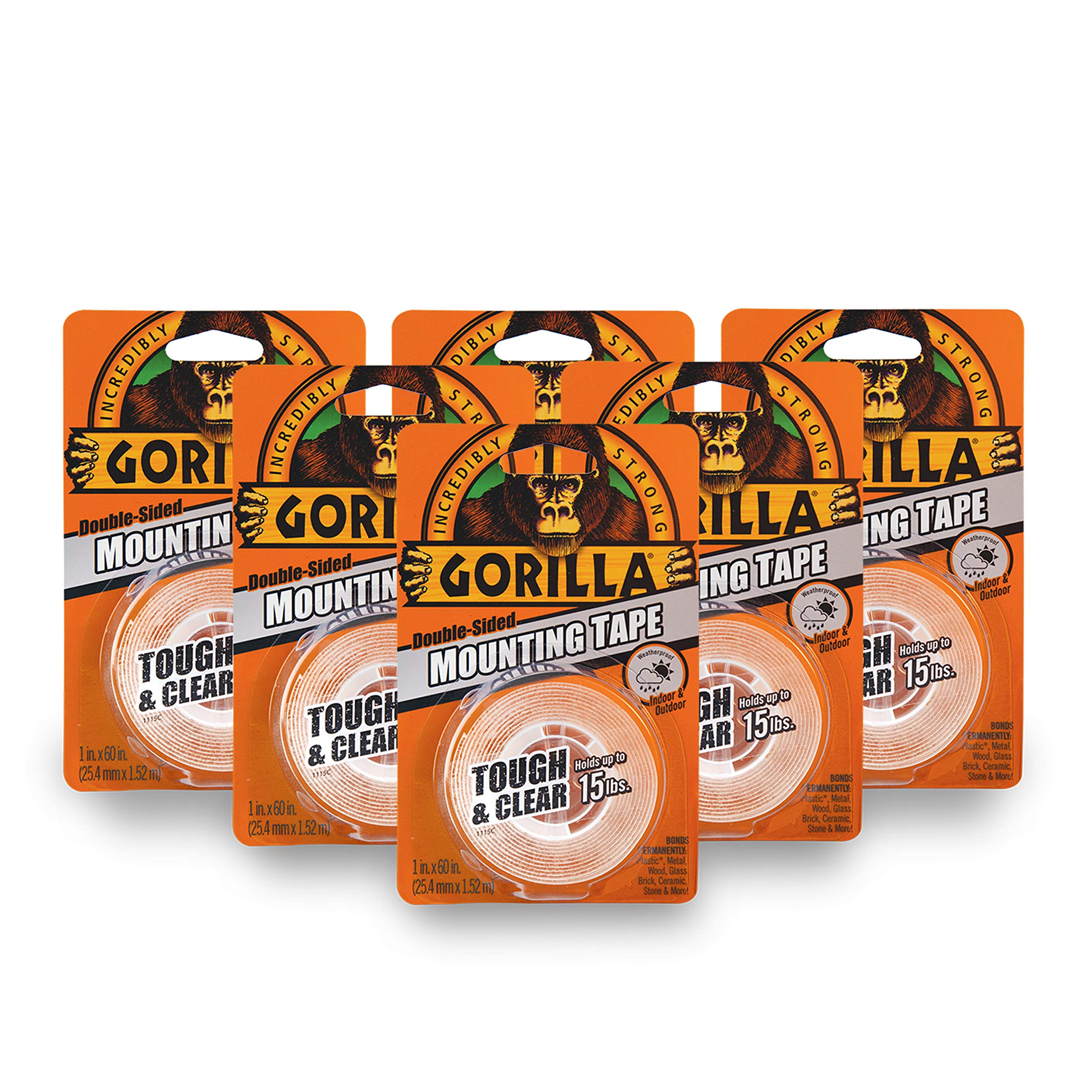 Gorilla Tough & Clear Double Sided Mounting Tape, 1 Inch x 60 Inches, Clear, (Pack of 6)