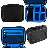 Duragadget Housse pour WOWOTO Mini projecteur/vidéoprojecteur A5 - compartimentée, Couleur Noir/Bleu