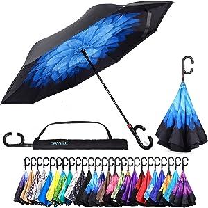Dryzle Reverse Inverted Auto Open Umbrella Upside Down Windproof Umbrellas for Women and Men (15 Designs)