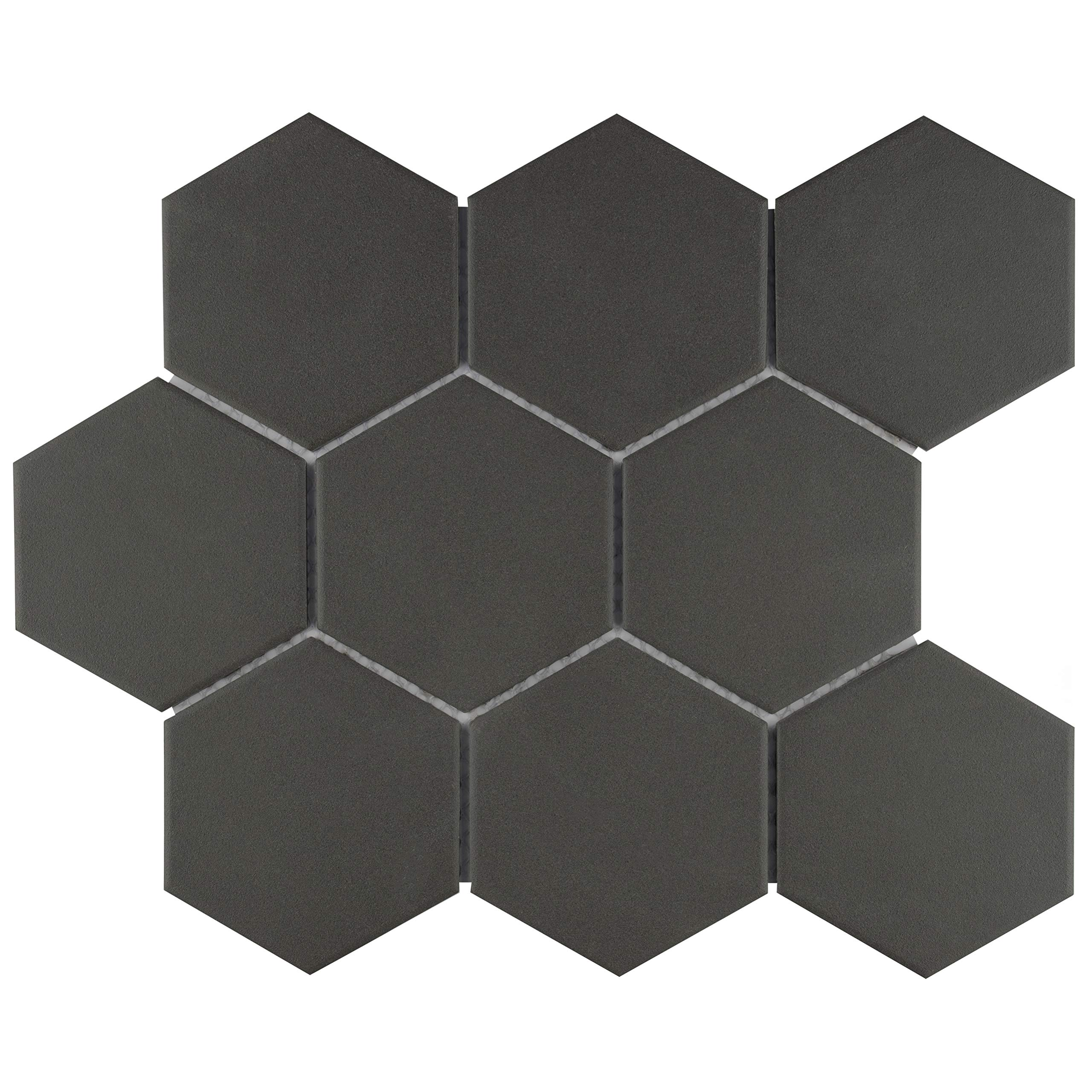 SomerTile FXLG4HBK Antique Super Hex Unglazed Porcelain Mosaic Floor and Wall Tile, 10'' x 11.5'', Black, 10 Piece