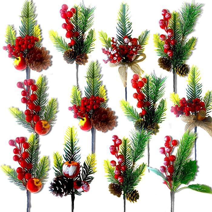 PUPCONE 12 Pack Christmas Picks Artificial Christmas Sprigs Pine Branches Assorted Red Berry Picks Stems Faux Pine Picks Spray with Pinecones Apples for Any Christmas Crafts