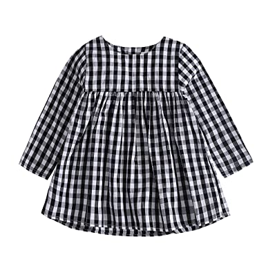 b73af59ad Amazon.com  Baywell Baby Girl Plaid Dress
