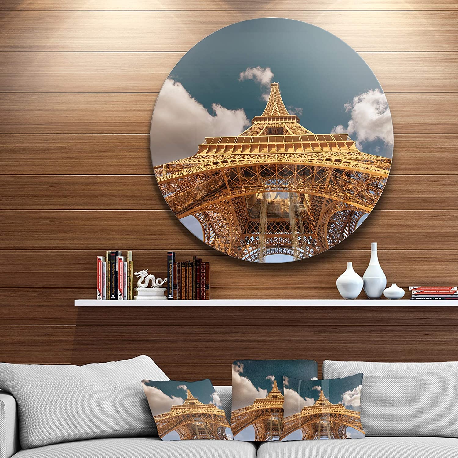 Designart Mt10140 C11 Beautiful View Of Paris Eiffel Tower Under Dark Sky Cityscape Circle Wall Art Disc 11 X 11 Blue White Amazon In Home Kitchen
