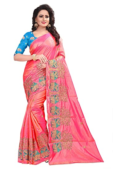 56f2392e9b202 Store Mart Women s Paper Silk Saree with Blouse Piece (Pink)  Amazon.in   Clothing   Accessories