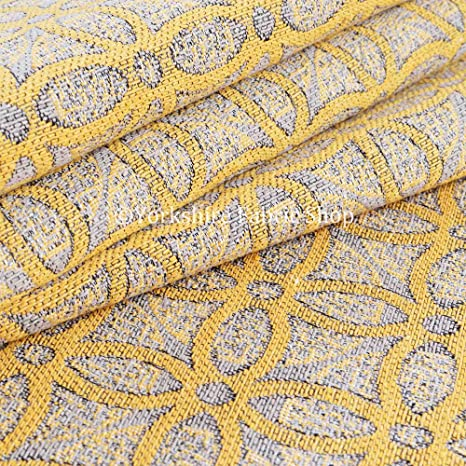 Yorkshire Fabric Shop Exclusiva tela color amarillo medallón ...