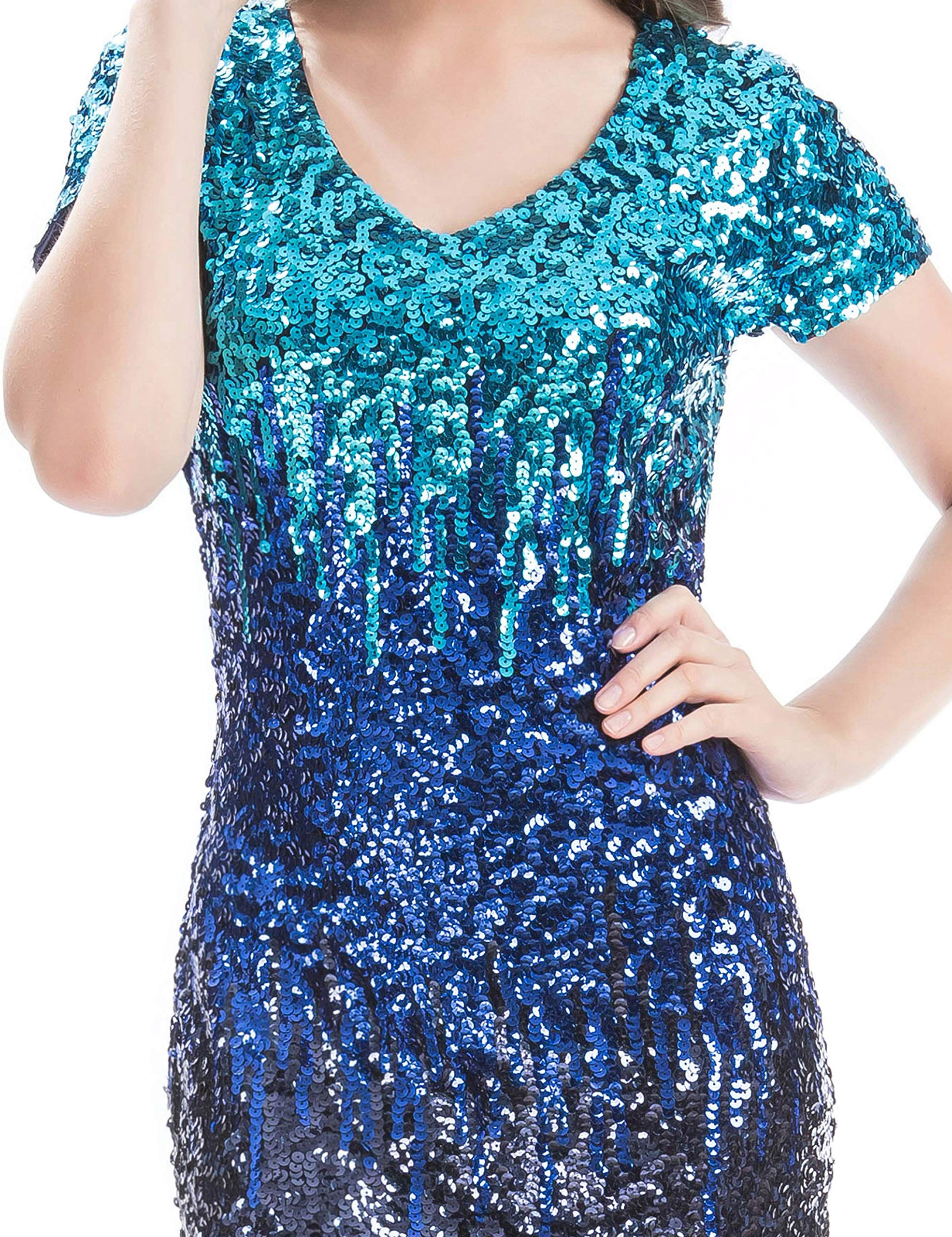 6ed63c0396 MANER Women s Sequin Glitter Short Sleeve Dress Sexy V Neck Mini Party Club Bodycon  Gowns(XL