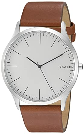 b3a9b36fbbf Skagen Men s jorn Quartz Stainless Steel and leather Watch Color  Silver