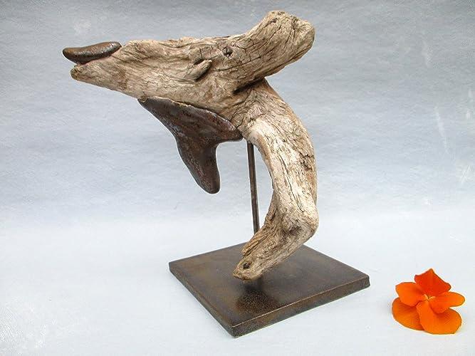 Treibholz Skulptur Fisch Mit Keramik Keramik Figur Holzfigur Mit