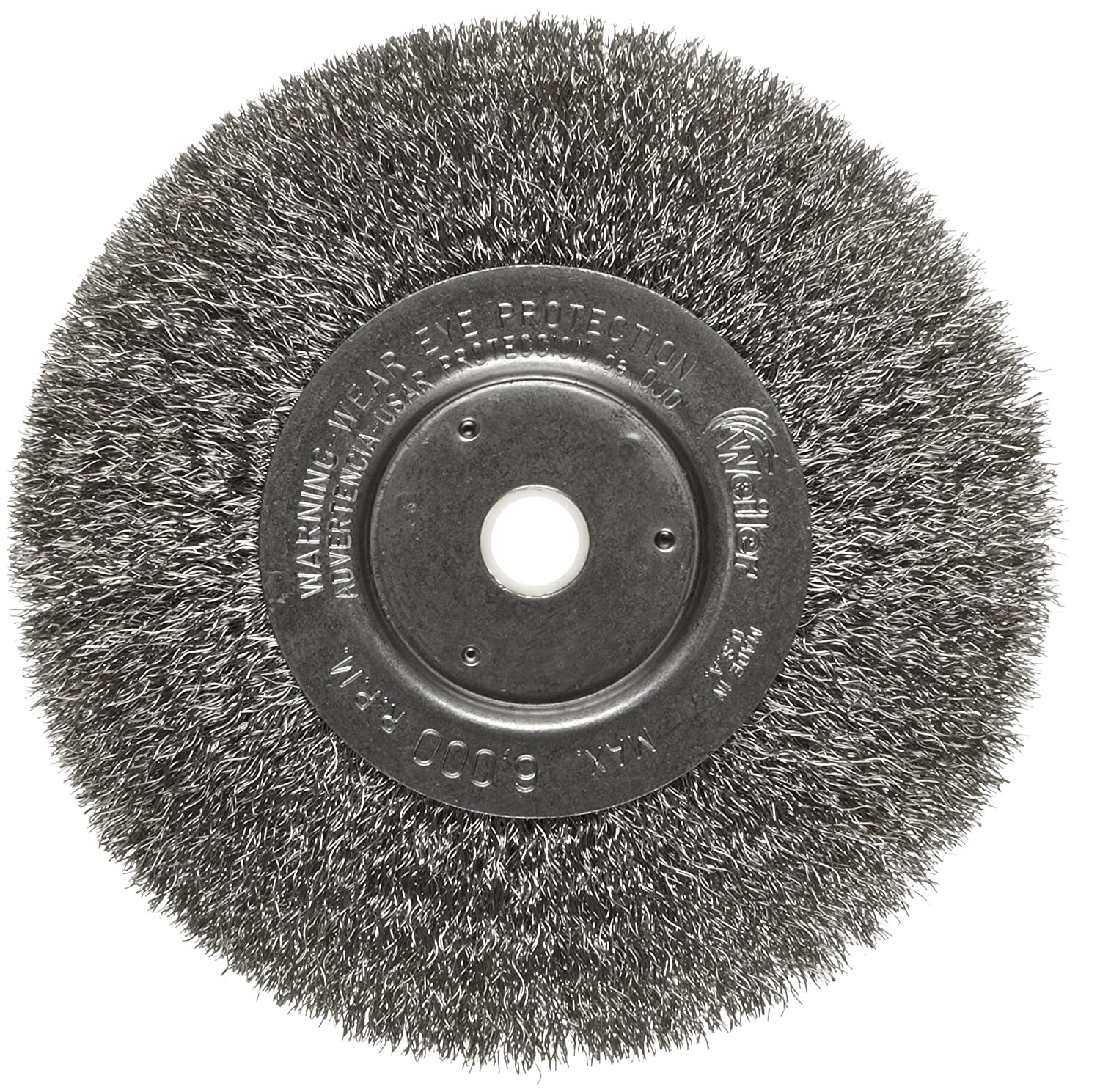 Weiler Trulock Narrow Face Wire Wheel Brush, Round Hole, Stainless Steel 302, Crimped Wire, 6' Diameter, 0.0104' Wire Diameter, 5/8-1/2' Arbor, 1-7/16' Bristle Length, 3/4' Brush Face Width, 6000 rpm