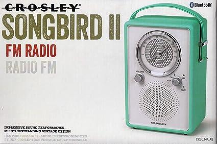 Amazon com: Crosley Songbird II FM Radio with Bluetooth CR3034A with