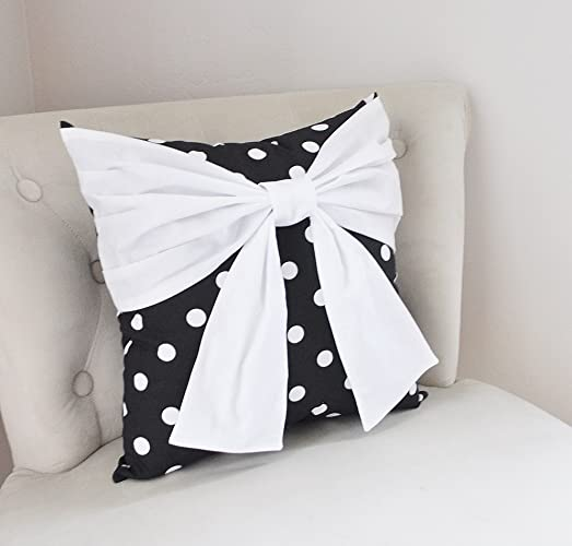 Black And White Polka Dot Pillow With Large White Bow, Decorative Throw  Pillow