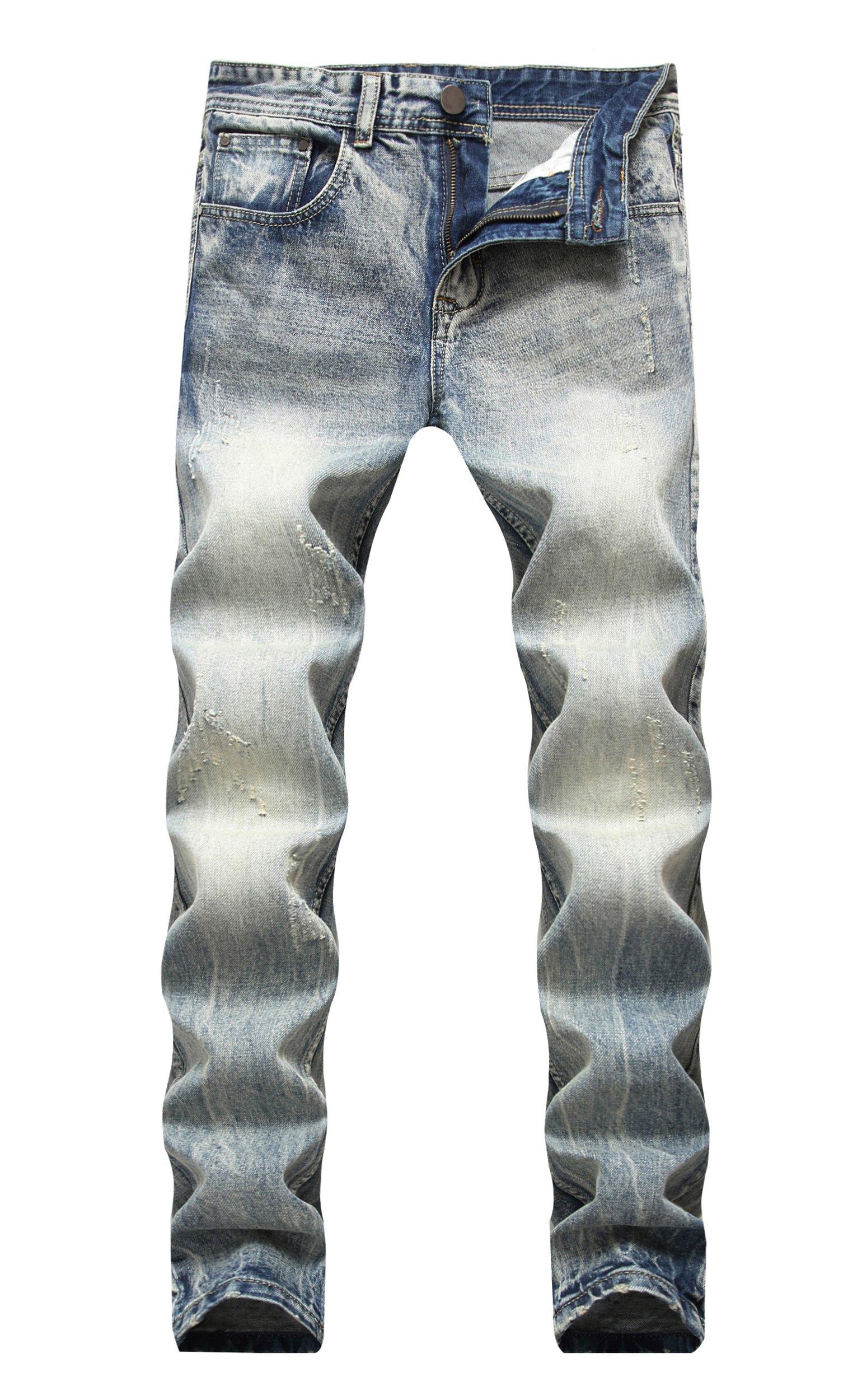 Grimgrow Men's Classic Regular-Fit Jean Comfort Destroyed Relaxed Fit Denim Pants 32