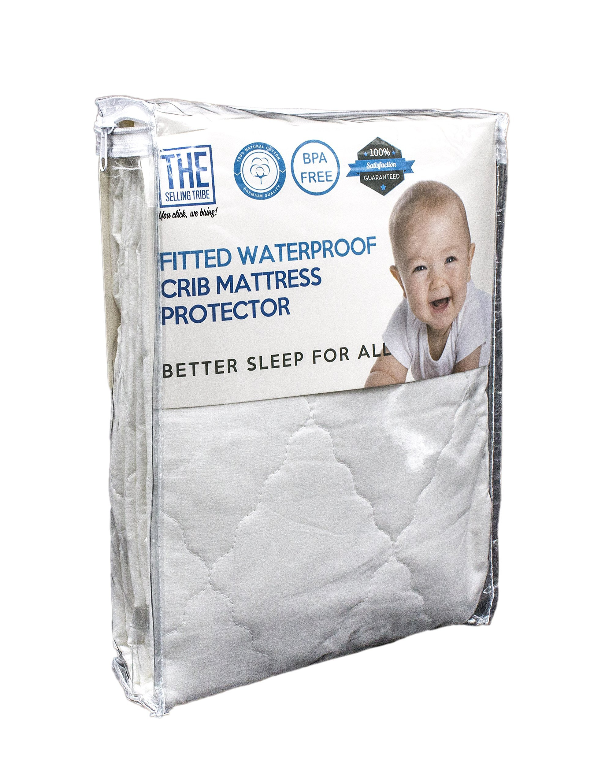 Waterproof Crib Mattress Cover | Protector and Sheet | Hypoallergenic & Breathable Cotton, Thin, Smooth & Elastic Fabric For A Snug Fit | Protects Baby,Toddler Against Dust Mites & Fluids