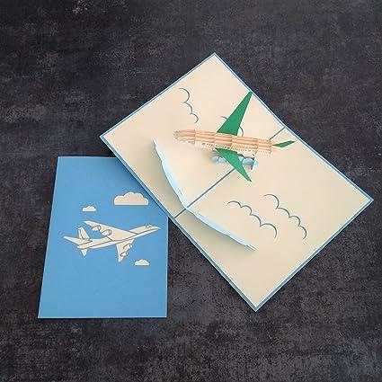 Tarjeta de felicitación 3D con diseño de avión azul hecho a mano ...