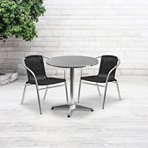 Flash Furniture 27.5'' Round Aluminum Indoor-Outdoor Table Set with 2 Black Rattan Chairs