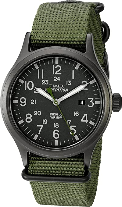 Timex Men's Expedition Scout 40 Watch, fabric material in green color strap, quartz movement, analog display.