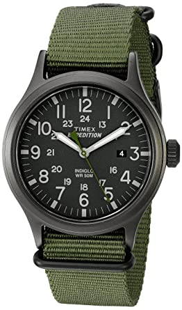 55613ca8cf55 Timex Men s TW4B04700 Expedition Scout Green Nylon Slip-Thru Strap Watch