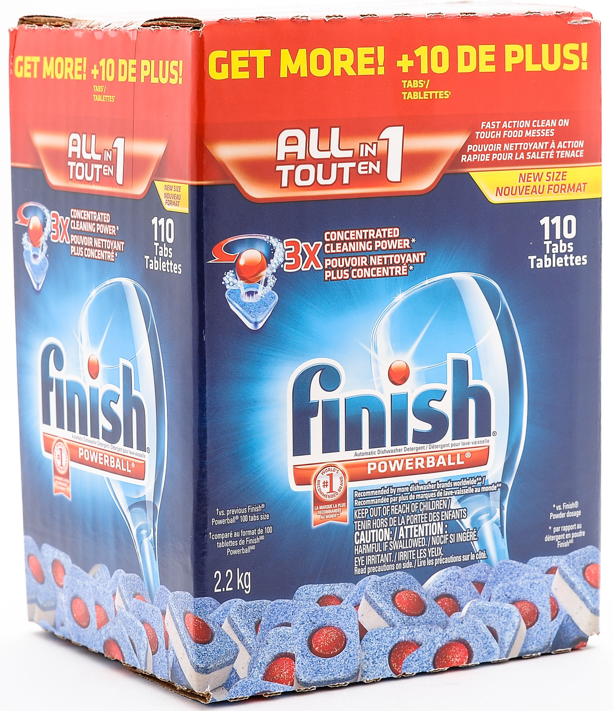 Finish Powerball All in 1, 3X Concentrated Dishwasher Detergent Tablets, 110 Count