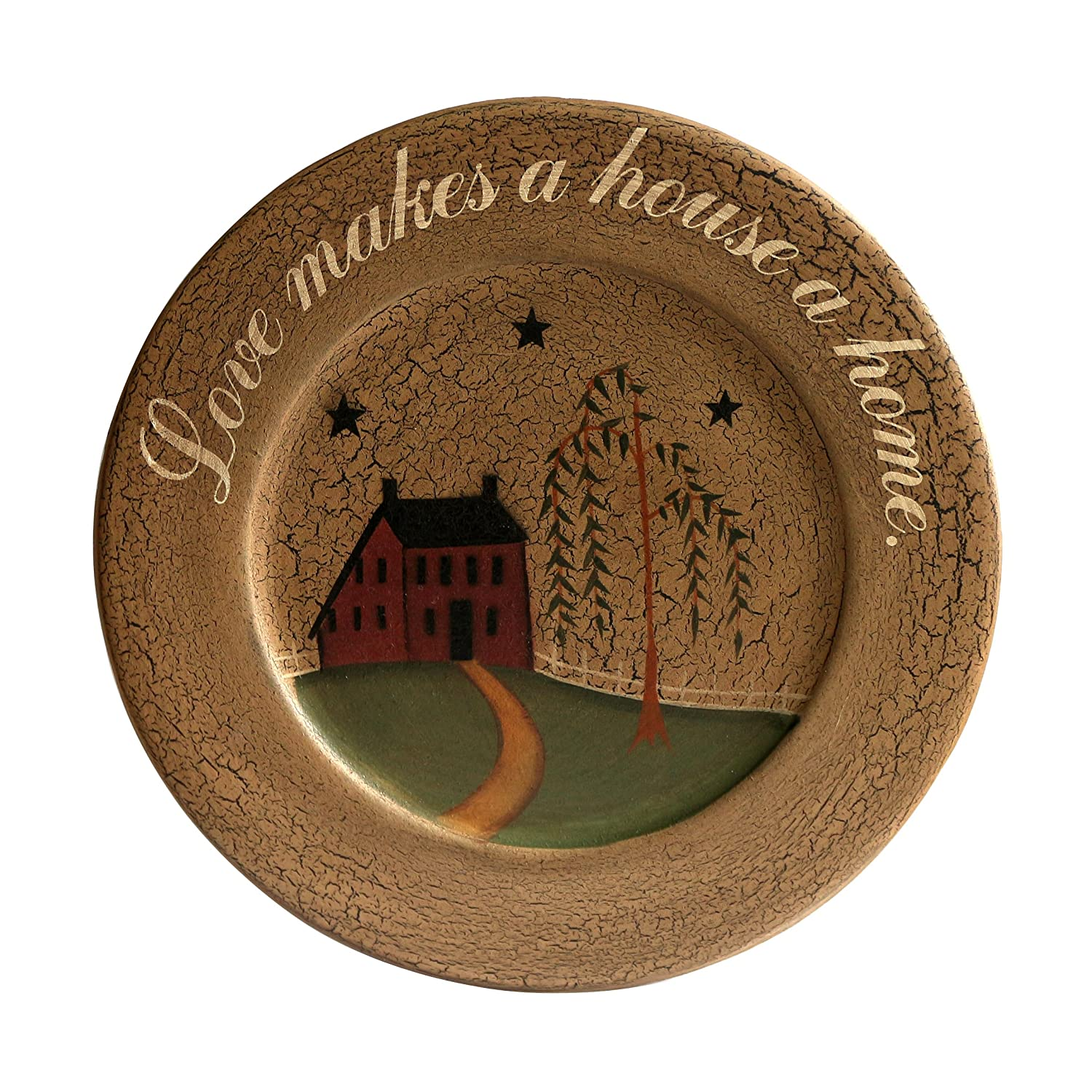 CVHOMEDECO. Primitive Country House Willow Tree Footpath Wood Decorative Plate Round Crackled Display Wooden Plate Home Décor Art, 9-3/4 Inch