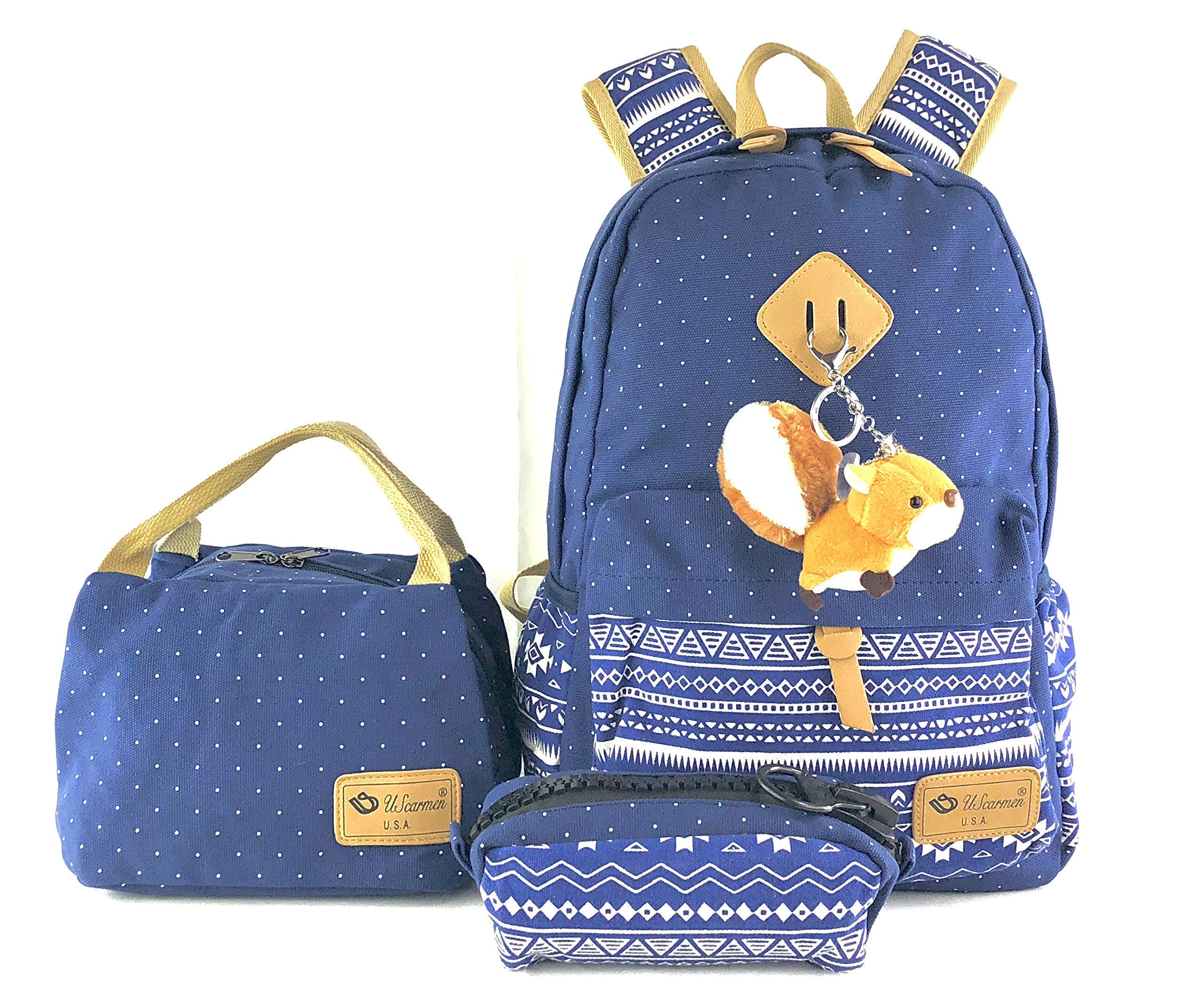 baaa4bd6b37d Women's Boy's Girl Canvas Backpack, Lunch Bag, Pouch Bag 3Pcs. Set for  School Laptop and More (Color Blue)