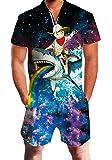 Leapparel Men Printed One Piece Jumpsuit Zip Short Sleeve Pants Rompers Overalls
