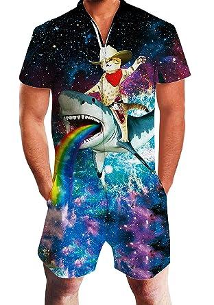 451b66a67b0 Adult Man One Piece Jumpsuits Galaxy Print 3D Novelty Cat Shark Loose Fit Zipper  Short Jersey