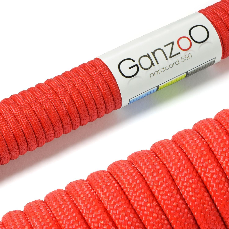 Ganzoo 550 Paracord - Corda da paracadute a 7 fili, lunghezza complessiva: 30 m, colore: Rosso #5011ro