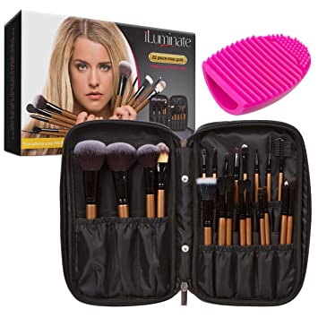 best professional makeup brush set. 22pc professional makeup brush set - make up includes usage guide, case holder best b