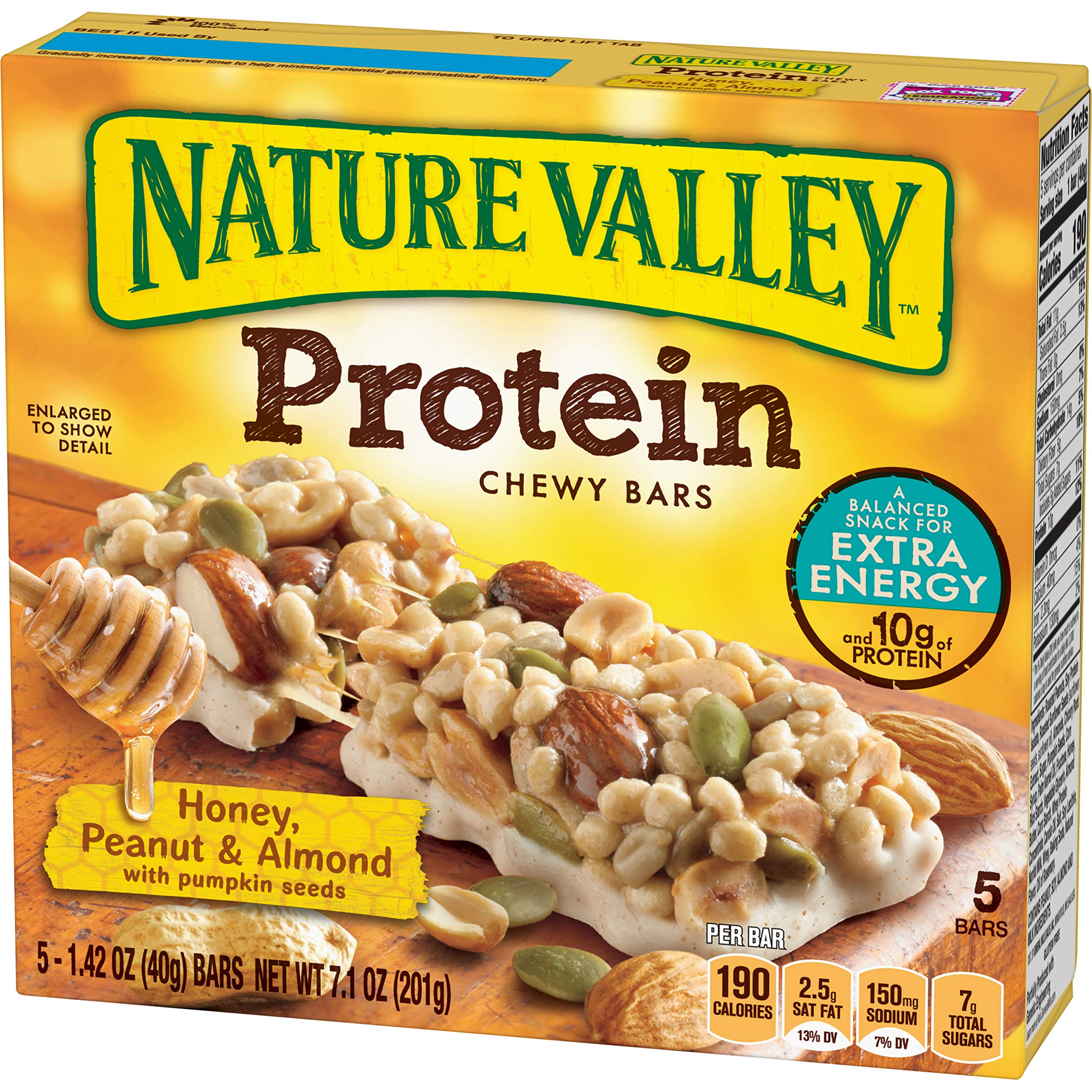 Nature Valley Protein Chewy Bar, Honey, Peanut & Almond with Seeds, 5 Count (Pack of 12)