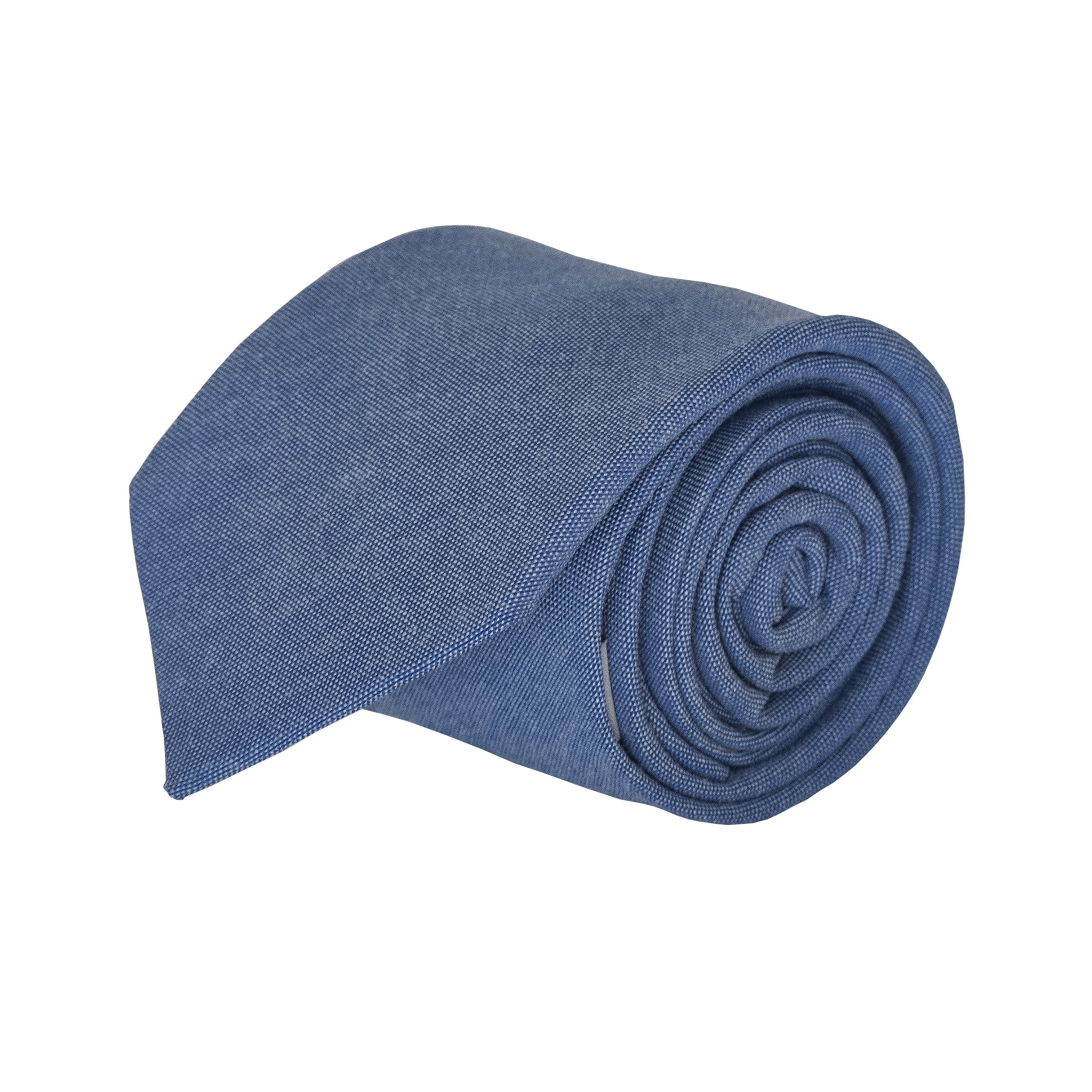 Luther Pike Mens Cotton Chambray Skinny Tie Neckties for Men - 2.75 inches Warm Blue Ties For Men
