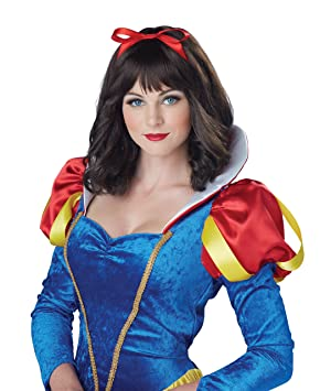 Fairytale Black Short /& Wavy Snow White  Adult  Fancy Dress Costume Wig