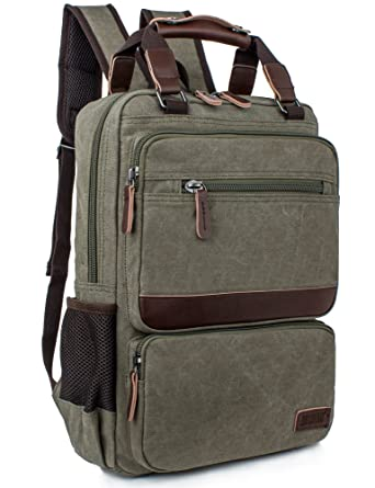 3bc5c416e7 Leaper Vintage Laptop Backpack College School Casual Daypack Travel Rucksack  (Army Green)
