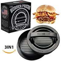 BURGER ART Burger Press with Recipe eBook, Different Size Patty Molds and Non Sticking Coating, Unique 3 in 1 Stuffed Hamburger Maker, With 30 FREE Patty Papers, Discover New Tastes with