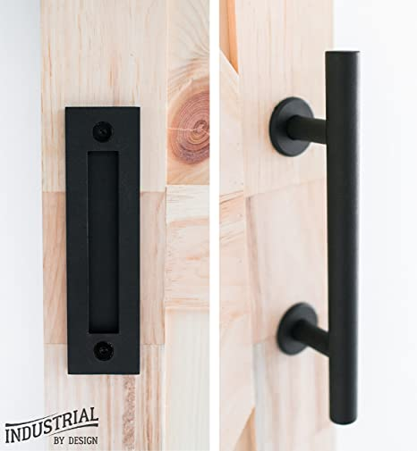 barn door handle with flush pull 12in handle, 8 5 8in flush pull heavy duty, durable powder coated black finish, includes installation bolts