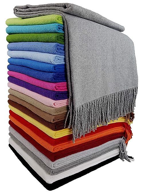 Baumwolldecke Wohndecke Kuscheldecke Tagesdecke 100% Baumwolle 130 x 170 cm sehr weiches Plaid Rio Alle Farben (Grau)