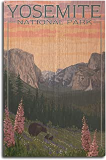 product image for Lantern Press Yosemite National Park, California - Bear and Cubs with Flowers (10x15 Wood Wall Sign, Wall Decor Ready to Hang)