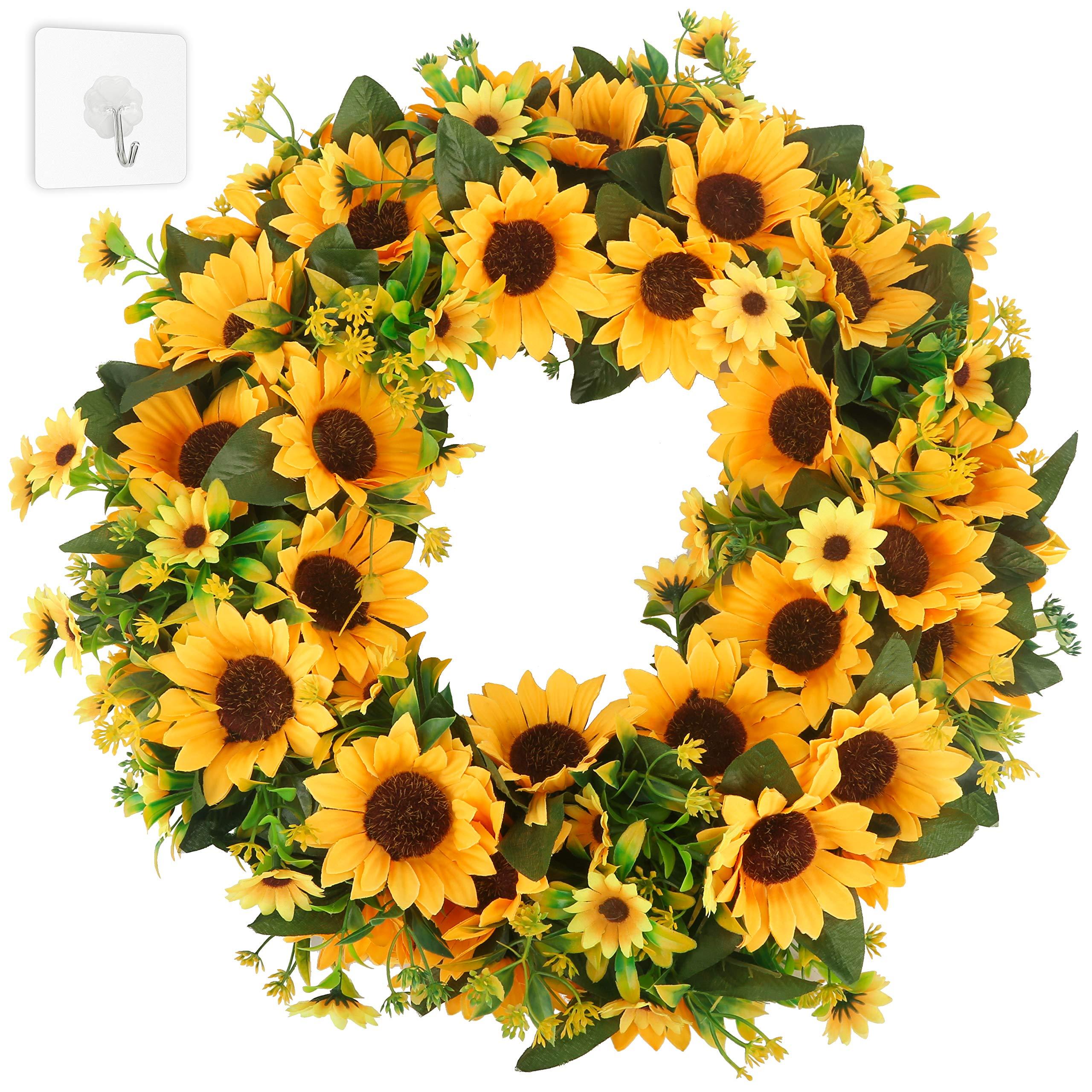 HANTAJANSS Artificial Sunflower Wreath, Large Sun Flower Greenery Garland for Door Decoration, Summer Home Decor 20 inches Yellow