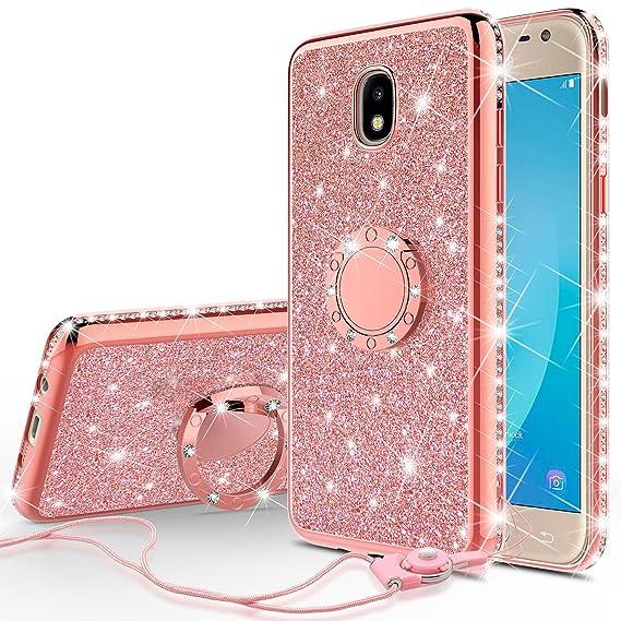 Galaxy J3 Orbit/J3 2018/J3 Star/J3 Achieve/J3v 3rd Gen/Express Prime 3/Amp  Prime 3 Case,Ring Kickstand Glitter Cute Bling Girls Diamond Sparkly