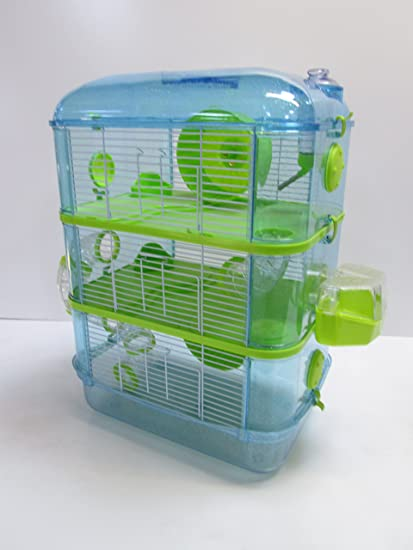new lower prices entire collection lace up in Fantazia Grande Cage De Hamster, 2 & 3 niveaux (3 Tier, Blue & Lime)