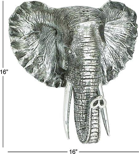 Deco 79 Polystone Elephant Head Plaque