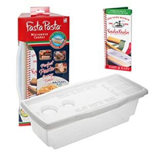 Microwave Pasta Cooker - The Original Fasta Pasta with Spiral Cookbook - No Mess, Sticking or Waitng for Water to Boil
