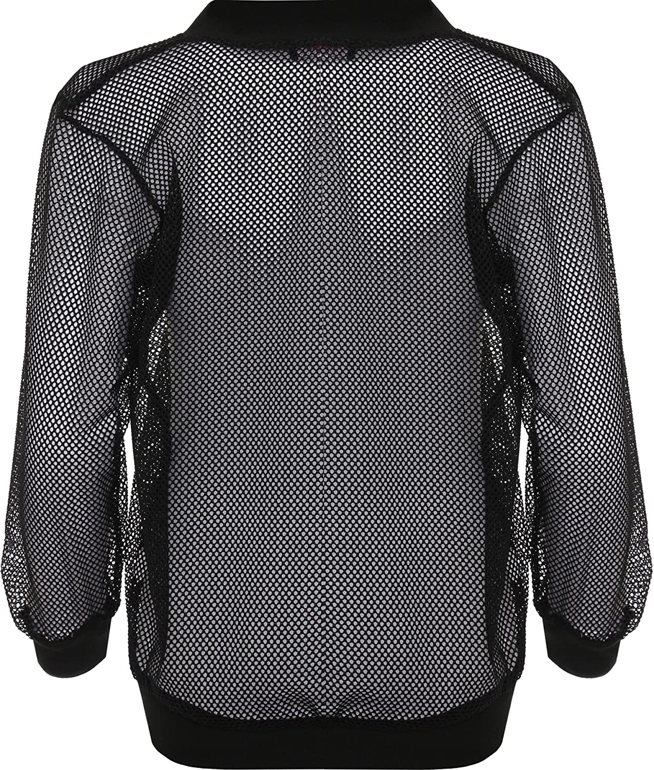 091a85ff0 Wearall Women's Plus Mesh Bomber Jacket Long Sleeve Net Plain Zip Top