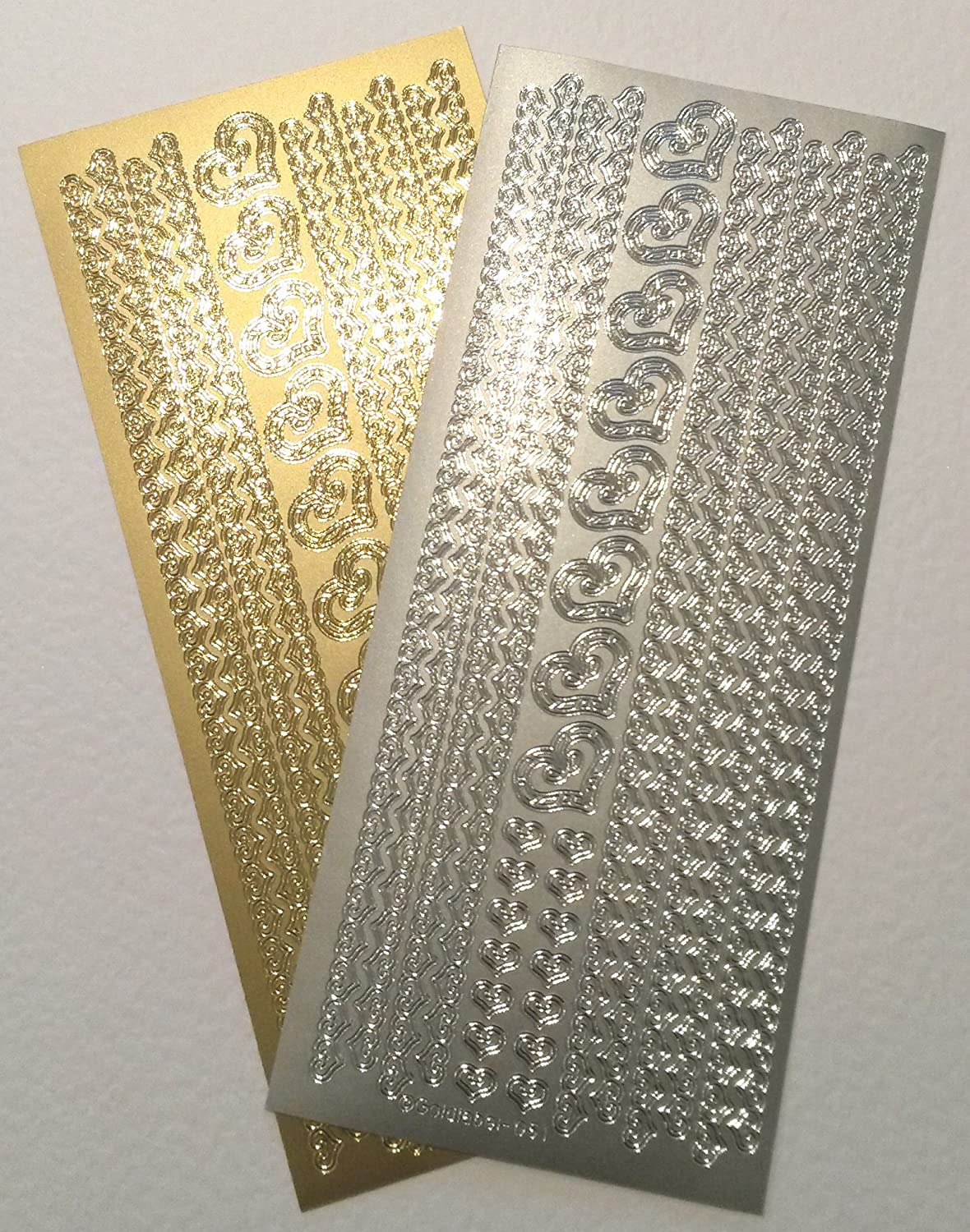 Silver Self Adhesive Borders Peel Off Stickers Sheet Card Embellishments Crafts